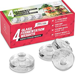 Fermentation Weight – Set of 4 Glass Weights for Small Batch Fermenting – Fits Wide Mouth Mason Jars – Non-Slip Handle tha...