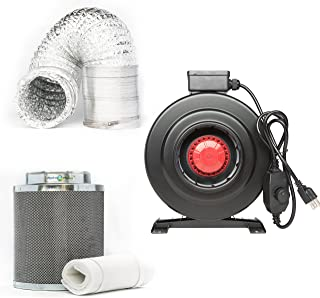 Hydroplanet 8-inch CFM 800 Inline Fan Built-in Speed Controller Carbon Air Filter and 25-feet Ducting Combo Kit (8-inch kit)