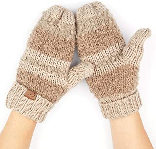 Hatsandscarf CC Exclusives Women Thick Knit Faux Fur Sherpa Fleece Lined Warm Winter Gloves Mittens