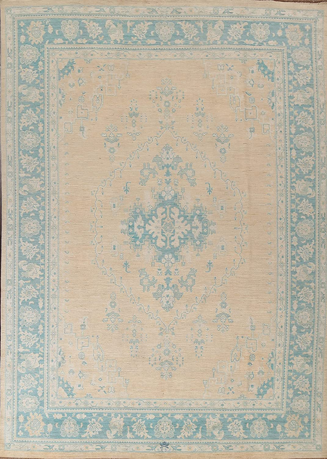 Peach Floral Vegetable Dye Muted Oushak Wool Turkish Rug Fashionable Gorgeous Ha Area