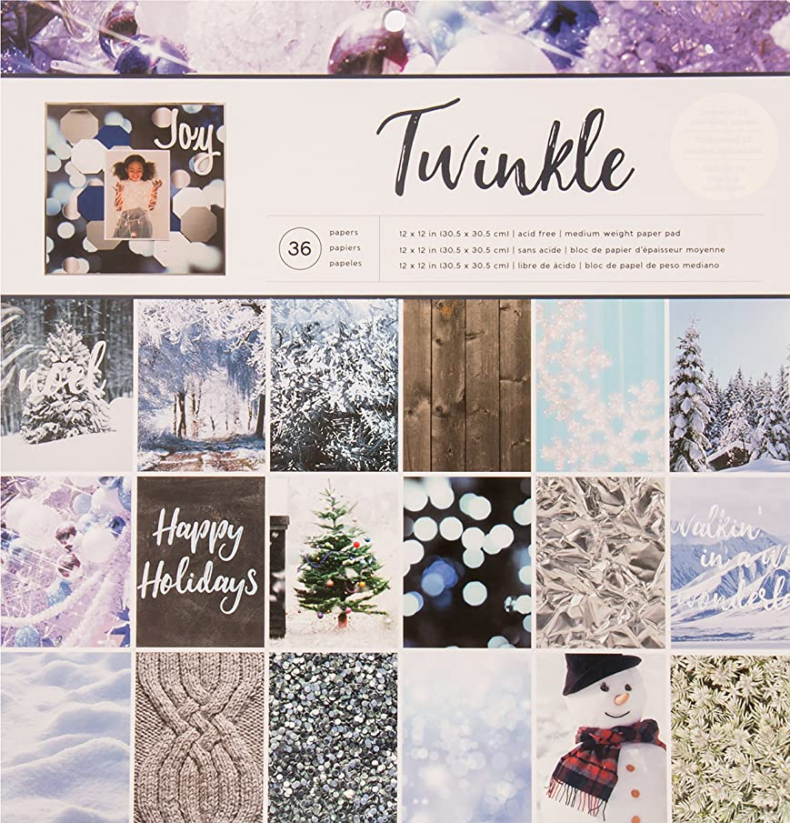 American Crafts Photo Real Twinkle Holiday Single-Sided Paper Pad 12