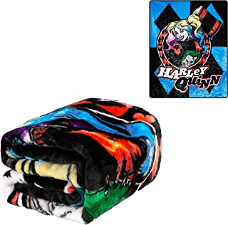 JPI Plush Throw Blanket - Harley Quinn Blue Diamond - Twin Bed 60
