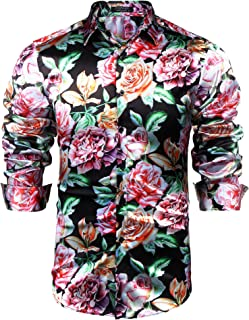 COOFANDY Men's Floral Button Down Shirts Long Sleeve Slim Fit Casual Satin Luxury Printed Prom Party Silk Dress Shirt