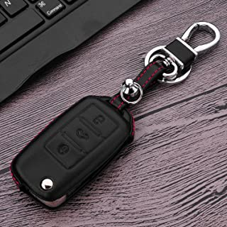 M.JVisun Leather Key Fob Case for Men Women Genuine Leather Key Fob Cover for Volkswagen/Skoda Key, Flip Car Remote Key Pouch Bag with Key Rings Kit Key Chain Keychain Holder Metal Hook - Black