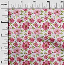 oneOone Velvet Pink Fabric Leaves & Watercolor Flower Floral Quilting Supplies Print Sewing Fabric by The Yard 58 Inch Wide