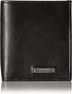 Ben Sherman Men's Brick Lane Sheepskin Leather Slim Square Passcase Wallet with Logo