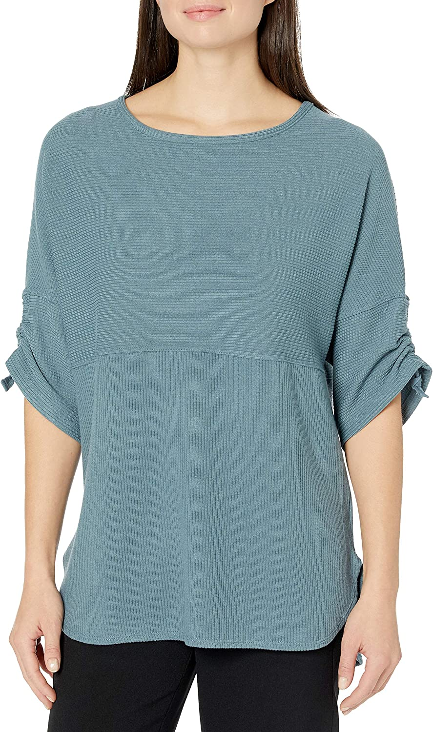 Max Studio Women's Ruched Sleeve Rib Knit Pullover