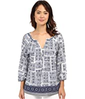 Dylan by True Grit - Mosaic Blouse with Embroidery Border