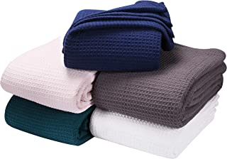 All season Cotton Thermal Blanket in Waffle Weave -Perfect for Layering Any Bed, Navy color Size 60x90 inch,Light Thermal Blankets,Twin Thermal Blankets,Breathable Blanket,Twin Thermal Blankets