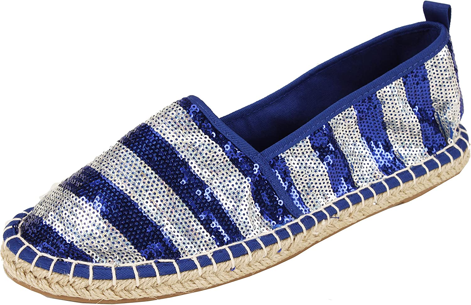 PepStep Women's Sequin Jute Soles Flats Ladies Espadrille Loafer Slip On Dolly Summer Holiday shoes
