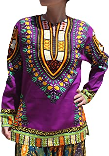 Raan Pah Muang Open Collar Long Sleeve African Dashiki Print Dance to Afrika Shirt
