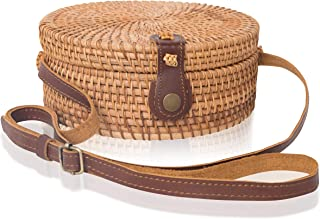 Boho Chic Rattan Ata Round Crossbody Bag with Genuine Leather Adjustable Strap for Women by la Bambu