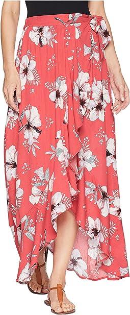 """Kaliyah """"Tahitian Petals"""" Printed Wrap Skirt"""