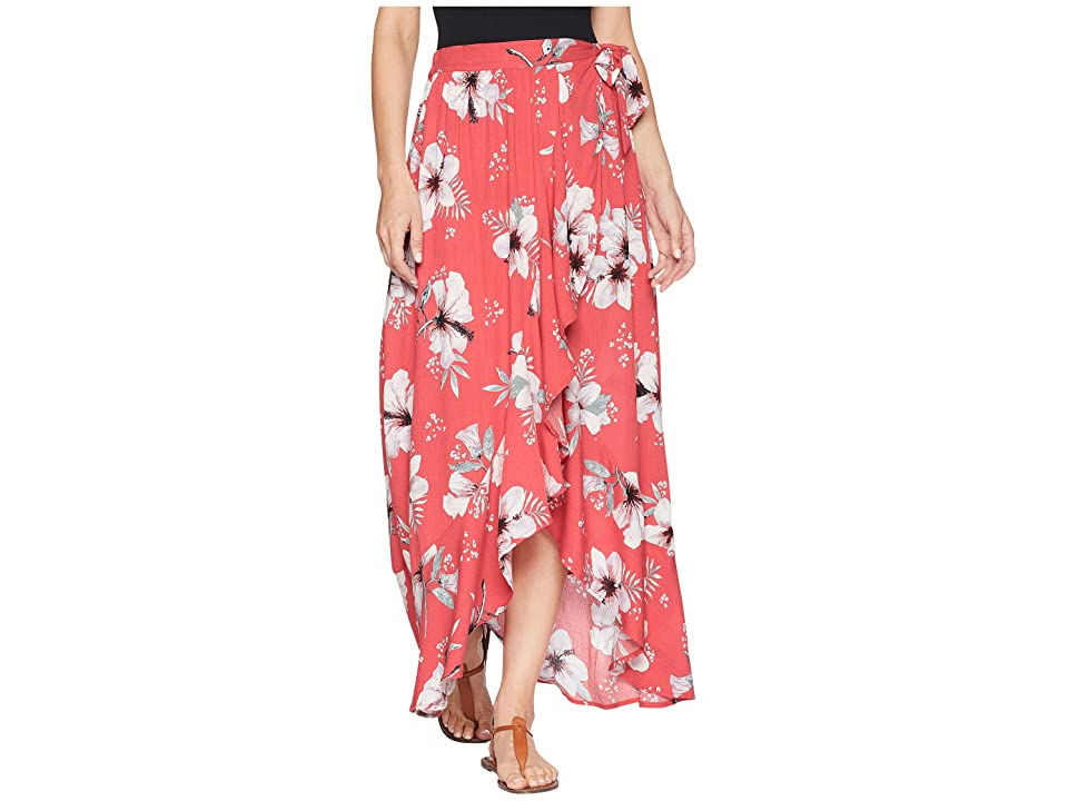 Jack by BB Dakota Kaliyah Tahitian Petals Printed Wrap Skirt (Hibiscus Red) Women