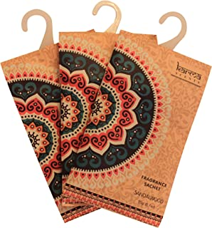 Premium Sandalwood Scented Sachets for Drawers, Closets and Cars, Lovely Fresh fragrance, Lot of 12 Bags, By Karma Scents