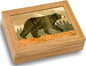 Wood Art Bear Box - Handmade in USA - Unmatched Quality - Unique, No Two are the Same - Original Work of Wood Art. A Black Bear Gift, Ring, Trinket or Wood Jewelry Box (#4111 Black Bear 4x5x1.5)