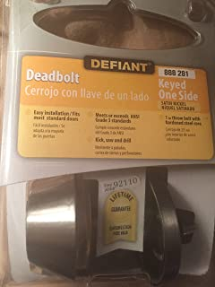 Defiant Single Cylinder Satin Nickel Deadbolt