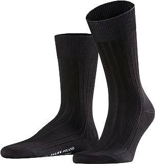 FALKE Socken Milano Baumwolle Herren schwarz grau viele weitere Farben verstärkte Herrensocken ohne Muster atmungsaktiv schweißfrei dünn und einfarbig mit Rippe 1 Paar