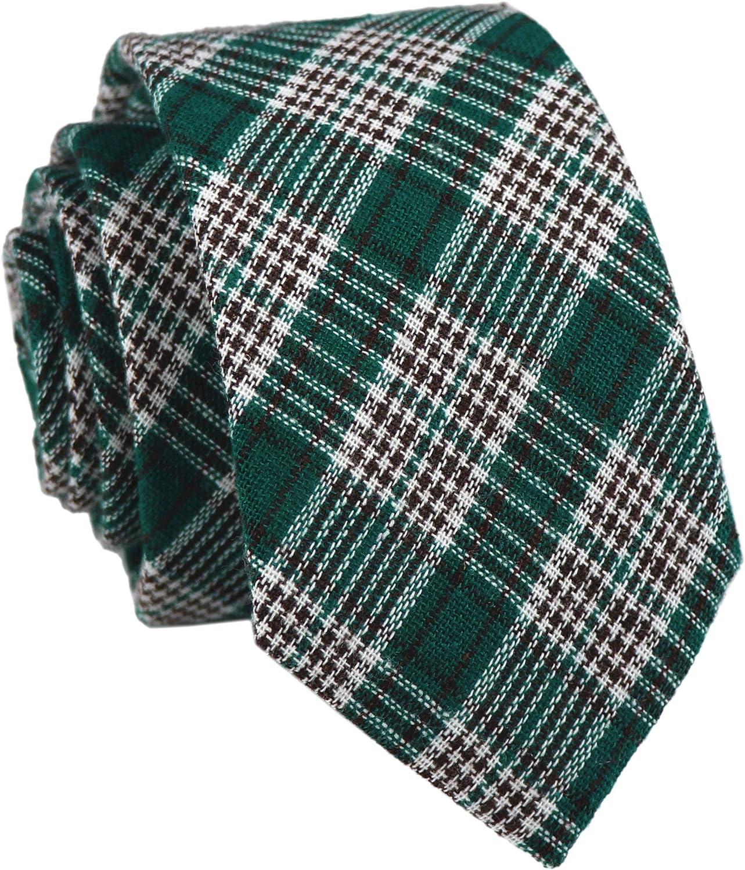 Men's Skinny Cotton Ties Modern Tartan Checks Plaid Style Formal Pattern Necktie