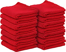 Utopia Towels Shop Towels 100% Cotton Reusable Commercial Grade 13 x 13 Inches (Red, 100)