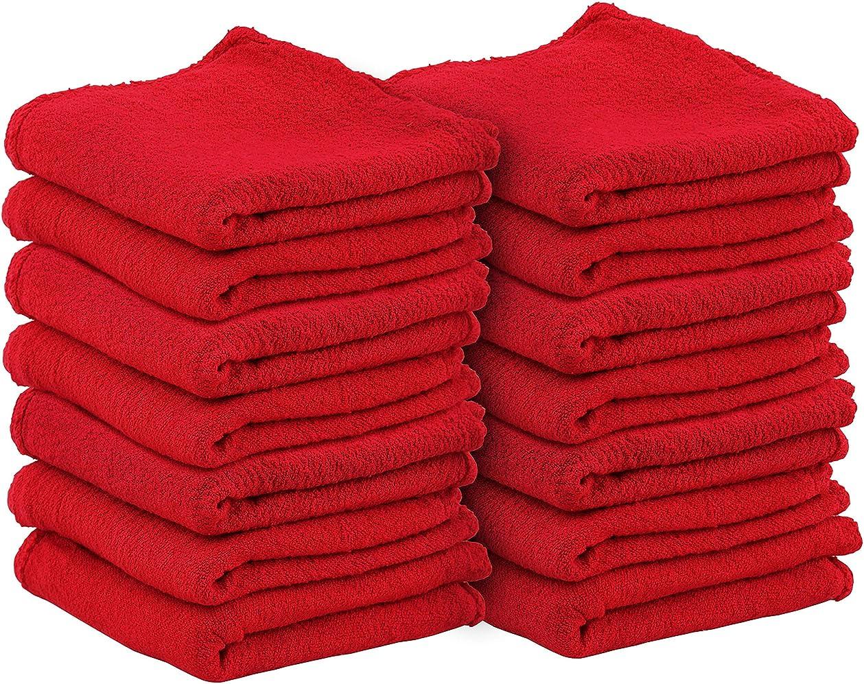 属性代わりの浴室Utopia Towels 自動車修理工ショップタオル {100枚パック 33.02 X 33.02Cm (13 X 13インチ)} 業務用 洗濯機洗い可 コットンハンドタオル 糸くずの出ない白いショップラグ ? 自動車修理作業とバーモップに最適 Utopia Towel レッド