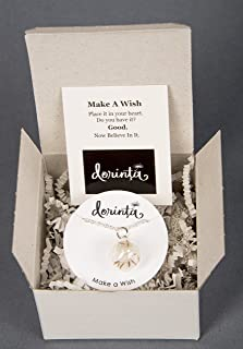 Remember Making a Wish on a Dandelion? Wishes in Hand Blown Glass Pendant Necklace Set Gift box and Quote Best Friends Daughters Sisters Military Brats 18