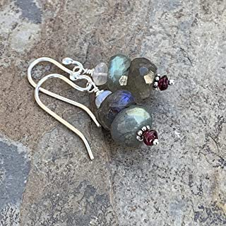 Labradorite Earrings with Garnet, Moonstone and Sterling Silver, 1.25 inches long