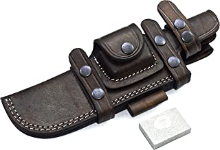 CFK Cutlery Company Handmade Brown Leather Right/Left Hand Horizontal 8-INCH Blade Knife Knives Sheath & Sharpening Stone Set CFK98