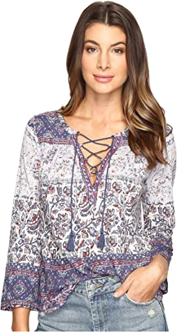 Lucky Brand - Lace-Up Peasant Top