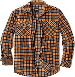 CQR Men's Fleece Long Sleeved Button-Up Plaid Brushed Shirt