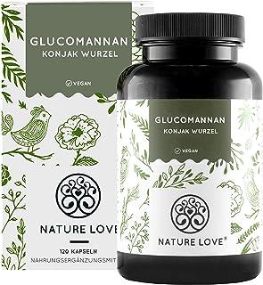 NATURE LOVE® Glucomannan aus der Konjak Wurzel – 120 Kapseln. 4000mg je Tagesdosis..