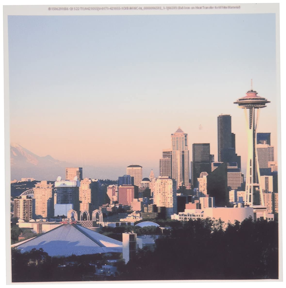 3dRose ht_96593_1 Seattle Framed by Space Needle and Mt. Rainier-Richard Duval-Iron on Heat Transfer for White Material, 8 by 8-Inch