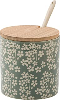 Bloomingville Jar with Bamboo Lid & Stoneware Spoon, Multicolor