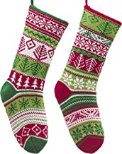 Valery Madelyn 18 inch 2 Pack Red Green White Knit Christmas Stockings with Snowflake Patterns, Themed with Classic Collection Splendor Tree Skirt (Not Included)