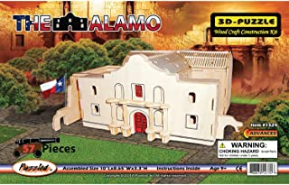 Puzzled The Alamo 3 D Puzzle Kit Challenging Brain Teaser Wooden Construction Model - Anti Anxiety Work Together Building Activity for Adults and Kids - Famous Site Problem Solving Toy - Item 1524
