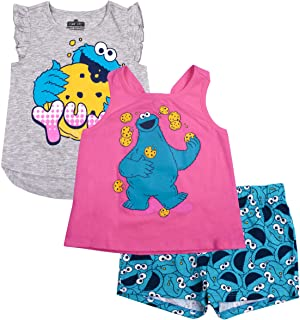 Sesame Street Girls 3PC Shirts and Short Set: Elmo & Cookie Monster
