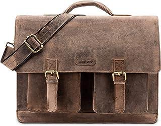 LEABAGS Miami Aktentasche Laptoptasche 15 Zoll Schultertasche aus echtem Leder, LxBxH: ca. 40 x 12 x 31 cm - Fallow
