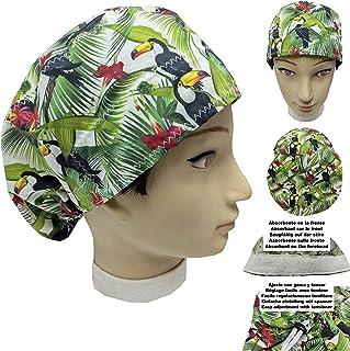 Cappello sala operatoria donna TUCANI per Capelli Lunghi Asciugamano assorbente sulla fronte facilmente regolabile medico ...