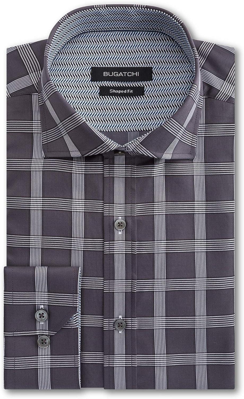 Bugatchi Men's Long Sleeve Spread Collar Shaped Woven