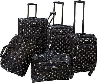 Fleur De Lis 5-Piece Spinner Luggage Set, Black, One Size