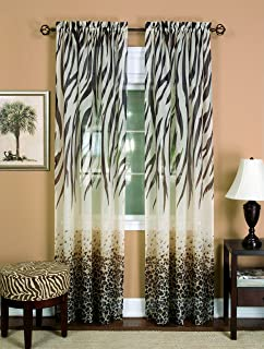 Achim Home Furnishings Kenya Curtain Panel, 50 84-Inch, Brown, 50