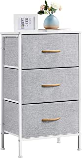 Yaheetech Commode en Tissu avec 3 Tiroirs Gris Placard/Meuble de Rangement pour Chambre Adulte Salon Bureau Commode Dressi...