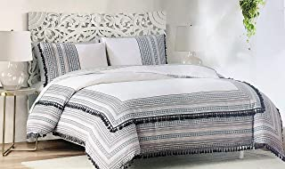 Cynthia Rowley New York Duvet Comforter Cover Set, Full/Queen Size Double Bed Luxury 3 Piece Printed Geometric Striped Pattern Black Red Gray on White with Black Sewn Tufts, Bedding - Rue