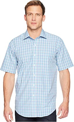 Short Sleeve Magnetically-Infused Check Dress Shirt- Spread Collar