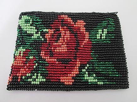 faea1d9a3b9d1b red flower rose and black floral hand beaded glass seed beads Fair trade  Guatemalan handmade design