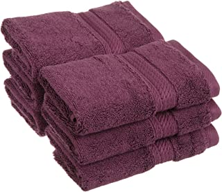 Superior 900 GSM Luxury Bathroom Face Towels, Made of 100% Premium Long-Staple Combed Cotton, Set of 6 Hotel & Spa Quality Washcloths - Plum, 13