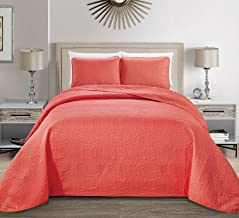 MK Home Mk Collection Solid Embossed Bedspread Bed Cover Over Size (Coral, King/California King)