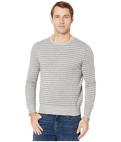 J.Crew Cotton-Cashmere Pique Line Stripe Crewneck Sweater (Stripe Heather Flannel) Men