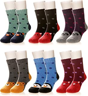 Kids Girls Boy Thermal Thick Socks Winter Soft Wool Warm Cotton Children Toddler Crew Socks 6 Pairs