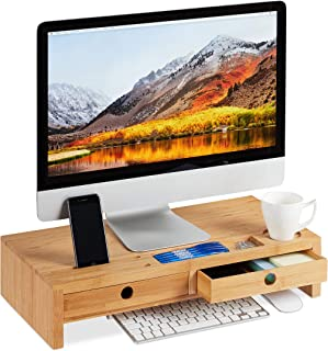 relaxdays Support pour moniteur, en bambou, Rehausseur d'écran avec 2 tiroirs rangements, bureau, HLP 12x56x27cm, nature, ...